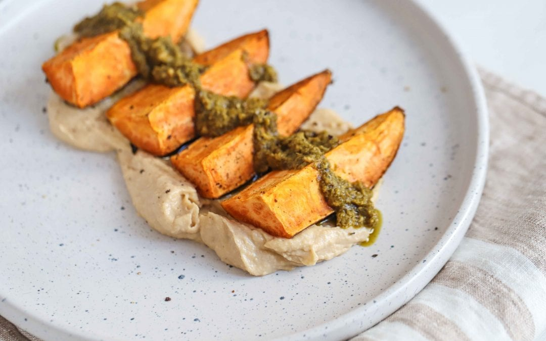 Sweet Potatoes with Hummus and Pesto