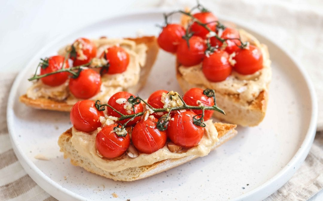 Roasted Tomato Hummus Toast